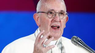 Le pape François, lors d'une rencontre avec des jeunes italiens à Rome, le 11 août 2018.