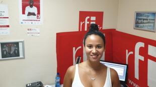 La chanteuse capverdienne Mayra Andrade au studio de RFI à Port-au-Prince.