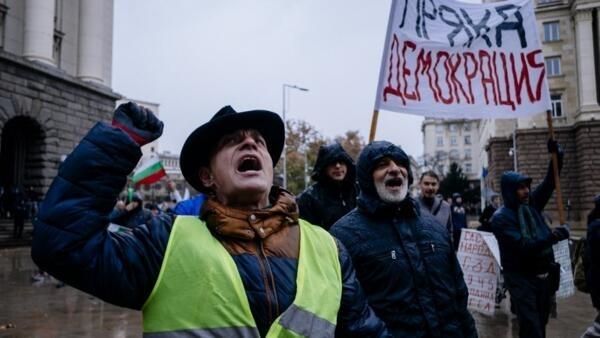 Manifestación de los 'chalecos amarillos' búlgaros, el pasado 18 de noviembre de 2018.