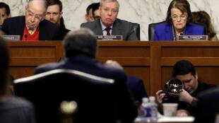 Lindsey Graham (centre) lors de l'audition de William Barr pour le poste de ministre de la Justice, le 15 janvier à Washington.