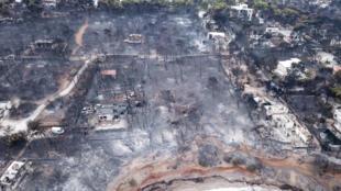 Hy Lạp - Cảnh cháy rừng ở Mati. Ảnh chụp từ trên không ngày 24/06/2018.
