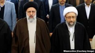 صادق آملی لاریجانی و ابراهیم رئیسی، روسای پیشین و کنونی قوه قضاییه