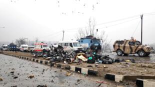 Một góc hiện trường vụ khủng bố ở Cachemire, Ấn Độ, ngày 14/02/2019.