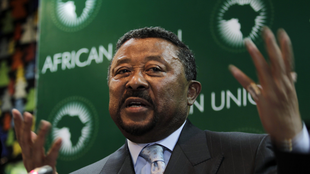 African Union Commission chairperson Jean Ping addresses a news conference at the African Union Summit in Addis Ababa