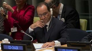 Франсуа Олланд на Саммите по глобальному потеплению в штаб-квартире ООН в Нью-Йорке 23/09/2014