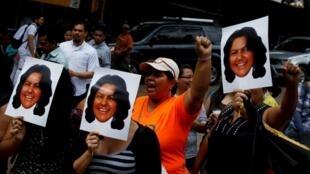 Manifestación de protesta por el asesinato de Berta Cáceres en Tegucigalpa, Honduras.