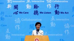 2017年6月21日香港候任特首林郑月娥在一次记者会上。