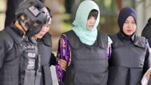圖為馬來西亞司法審理朝鮮人金正男遭毒殺案嫌疑人上庭應訊照片