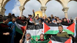 Manifestação de apoio ao povo palestino, em 15 de dezembro