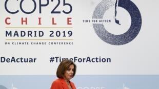 Nancy Pelosi, présidente de la Chambre américaine des représentants, à la COP25 à Madrid, le 2 décembre 2019.