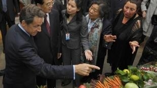 France's President Sarkozy and China's President Hu Jintao arrive at a restaurant in Nice