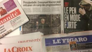 Primeiras páginas dos jornais franceses de 16 de novembro de 2016