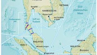 泰國克拉運河的可能方案圖。
