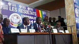 La Céni, avec, au centre, son président, Me Salif Kébé, lors du résultat des communales en 2018 (image d'illustration).