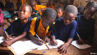Nigerian students taking lessons.