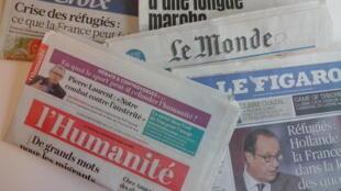 Primeiras páginas dos diários franceses de 08/09/2015