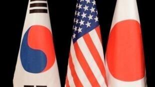 图为美日韩三国旗