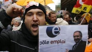 Biểu tình của nhân viên công ty Redoute, Pháp, ngày 28/01/2014, tại Lille, chống cắt giảm việc làm.
