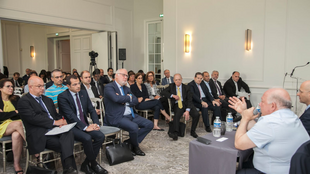 Business leaders gather at the Franco-Lebanese Chamber of Commerce in Paris for a conference aimed at accelerating closer partnership in tech, 19 June 2019