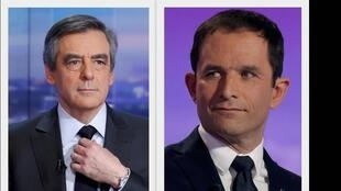 Os candidatos François Fillon (esq.) e Benoît Hamon.