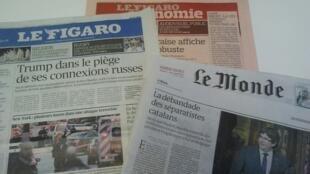 Primeiras páginas dos jornais franceses de 1 de novembro de 2017