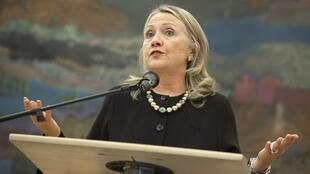 US. Secretary of State Hillary Clinton at a news conference in Zagreb 31 October 2012