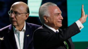 Henrique Meirelles, candidato a la presidencia de Brasil con el actual presidente, Michel Temer.