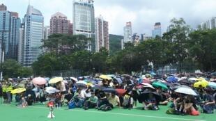 Hồng Kông: Cảnh đám đông biểu tình ở Victoria Park. Ảnh ngày 11/08/2019.