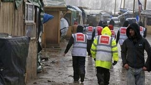 Volunteers for the Care 4 Calais NGO in the Jungle on Monday