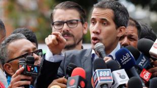 """""""خوان گوایدو"""" رئیس پارلمان ونزوئلا که نزدیک به ۵٠ کشور ریاستِ جمهوری موقت وی را برسمیت شناختهاند، در جهت ورود کمکهای غذائی و داروئی ارسالشده از آمریکا به داخل کشور، تا شنبۀ ٢٣ فوریه/ ٤ اسفند به دولت """"نیکلاس مامادورو"""" فرصت داد."""