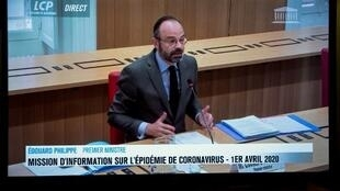 Le Premier ministre Edouard Philippe answering questions about the management of the Covid-19 outbreak on April 1st, 2020.