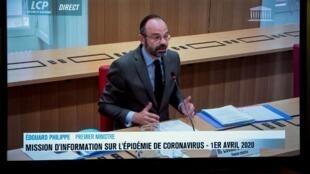 Le Premier ministre Edouard Philippe répondant aux questions de la mission d'information sur le Covid-19, le 1er avril 2020.