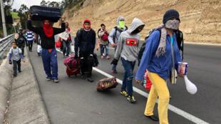 Des milliers de Vénézuliens sont partis sur les routes de Colombie, d'Equateur (photo) ou du Pérou pour fuir la crise économique qui secoue leur pays.