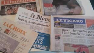 Primeiras páginas dos jornais franceses de 02 de outubro de 2019
