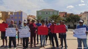 Manifestação na cidade do Mindelo, na ilha de São Vicente, em Cabo Verde. 11 de Janeiro de 2020.