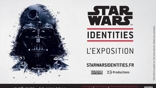 Cartaz da exposição Star Wars Identities, na Cité du Cinéma, na grande região parisiense.