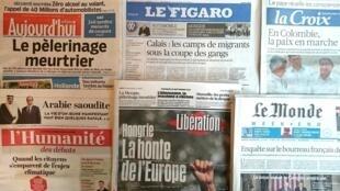 Diários franceses de 25 de Setembro de 2015.