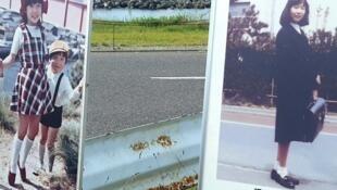 Des portraits de Megumi Yokota sur les lieux de son kidnapping.