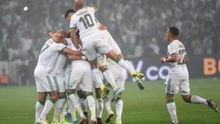 Les Verts célèbrent le but de Riyad Mahrez face à la Colombie, le 15 octobre 2019.