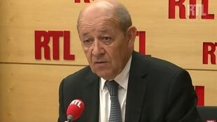 O chanceler francês, Jean-Yves Le Drian, durante entrevista à rádio francesa em 1° de setembro de 2017.