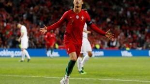 Cristiano Ronaldo après son triplé pour le Portugal contre la Suisse, le 5 juin 2019. (Photo d'illustration)