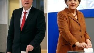 Candidato social-democrata, Peer Steinbrück, e a chanceler Angela Merkel depositam seus votos.