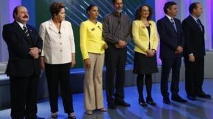 Candidatos à Presidência do Brasil participam de último debate antes do 1° turno.