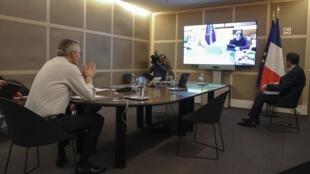 Bộ trưởng Tài Chính Pháp Bruno Le Maire trong cuộc họp qua mạng internet, ngày 09/04/2020, với đồng nhiệm các nước thuộc nhóm Eurozone.