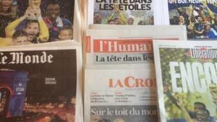 Primeiras páginas dos diários franceses 16/7/2018