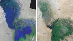 Le lac Tchad vu du ciel en 1972 et en 2001.