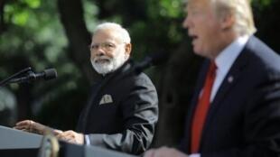 印度总理莫迪与美国总统特朗普资料图片