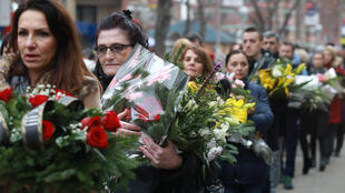 Lors des obsèques de l'opposant politique Oliver Ivanovic, le 18 janvier 2018 à Mitrovica.