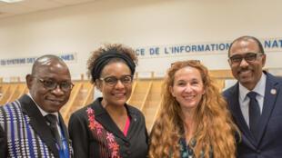 Emission enregistrée lors de la conférence sur les faux médicaments en Afrique subsaharienne au siège de l'ONU le 22 mai 2018. De gauche à droite: Simon Kaboré, Michaëlle Jean, Caroline Paré et Michel Sidibé.
