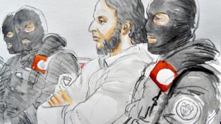 Портрет Салаха Абдеслама в суде в Брюсселе, 5 февраля 2018 года.